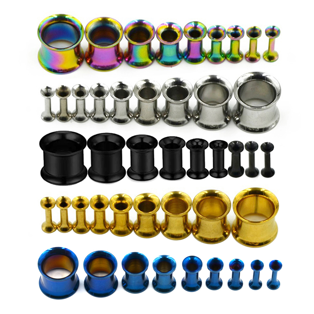 1 Pair 6g Steel Double Flared Tunnels Ear Plugs Eyelet