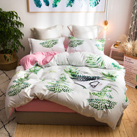 Leaf print cute Bedding Set Queen size double bed set bed cover soft Bedsheets Duvet quilt cover set pillowcase polyester 40