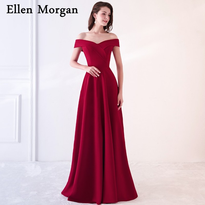 Burgundy Jersey Simple Evening Dresses For Women Wear Red