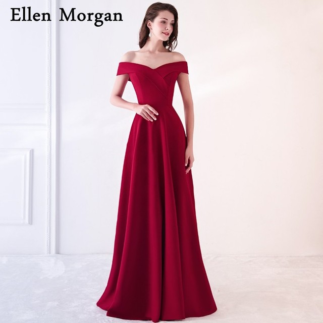 Burgundy Jersey Simple Evening Dresses For Women Wear Red Carpet Celebrity Sweetheart Neck Off Shoulder Sexy Formal Gowns 2018