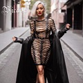 2017 New Free Shipping Chic Luxe Lace Up Cross Criss Embellished Long Sleeve Celebrity Party Style Women Wholesale Bandage Dress