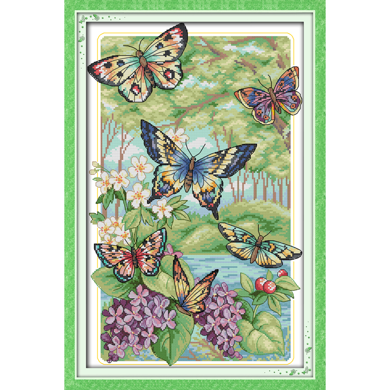 Everlasting love Christmas Butterflies fly in the forest Chinese cross stitch kits Ecological cotton New store sales promotion