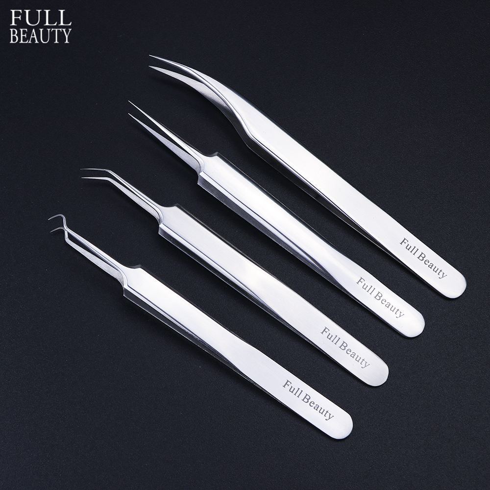 1pc Stainless Steel Blackhead Tweezers Eyelash Extension Curved Acne Clip Removal Eyebrow Tweezer Face Care Tools CHFBNC01-04