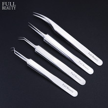 1pc Stainless Steel Blackhead Tweezers Eyelash Extension Curved Acne Clip Removal Eyebrow Tweezer Face Care Tools CHFBNC01-04(China)