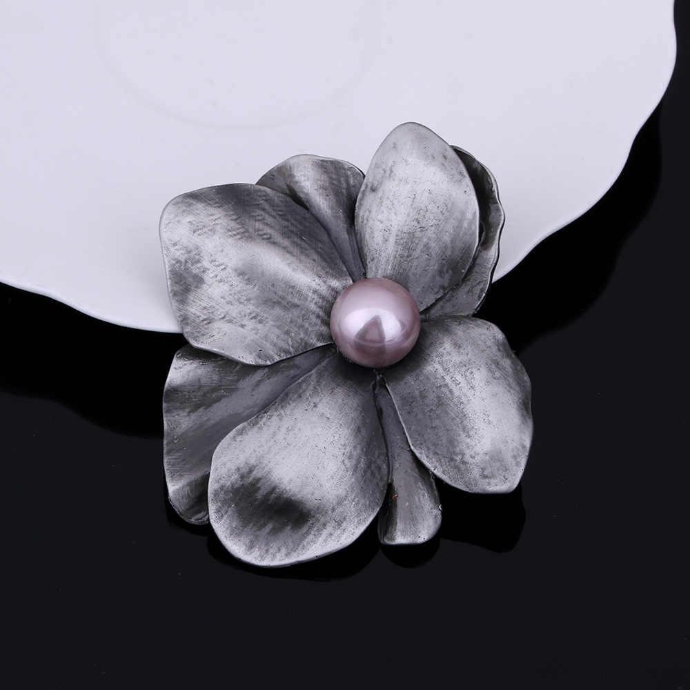 Jujie Vintage Asli Besar Mutiara Bunga Bros untuk Wanita 2019 Retro Klasik Asli Bros Pin Tanaman Perhiasan Grosir