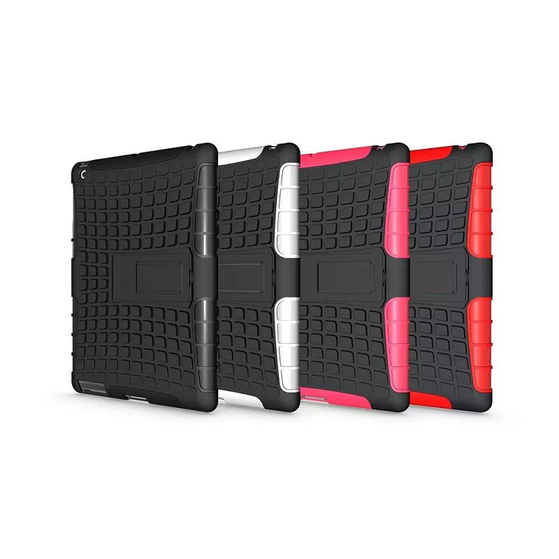 Heavy Duty Impact Hybrid Armor Cover Hard Plastic Case for Apple iPad 2 3 4 With Kickstand Phone Bags & Cases IDOOLS
