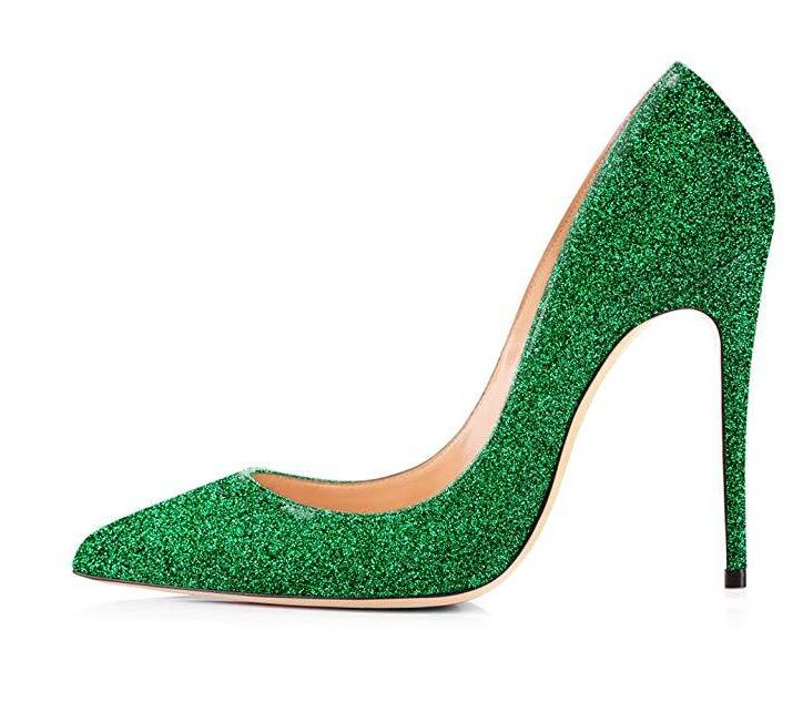 Hot Selling Green Glitter Pointed Toe Heels Pumps Women Shoes Slip-on High Heels Pumps 12cm Customized Banquet Dress Shoes