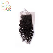 WoWigs Hair Curly Lace Closure Remy Natural Color 100% Human Free Shipping