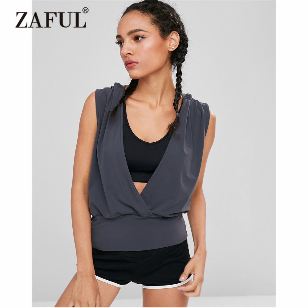 ZAFUL Yoga Shirts Women Plunge Hooded Sports Tank Top Sleeveless Plunging Neck Gym Tank Top Running Exercise Yoga Top Sportwear u neck sleeveless tank top high waisted solid color bandage skirt twinset for women