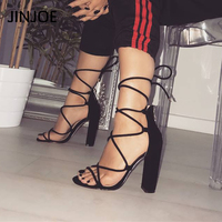 JINJOE Summer Sandals Gladiator Ankle Strap Flock lace up Women shoes Cross tied Square heel Party High heels Sandals Big size