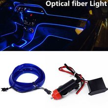 Car 4 Meter LED Lights Lamp Bright Console Front Charger Inner Flexible Interior Blue Door Center Useful Parts(China)