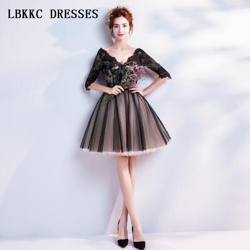 Abiti Da Cerimonia Donna.Little Black Dresses Black Evening Dresses Short Abiti Da