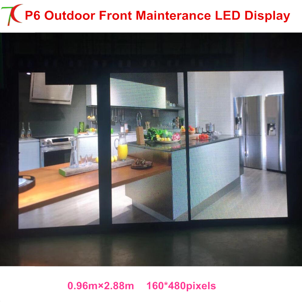 Front Mainterance Customizable P6 Outdoor Waterproof Metal Cabinet Display Advertisement Screen