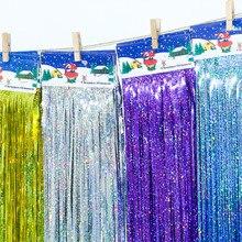 10*100 см мишура фольга бахрома двери окна занавес День Рождения Декор фото фон Свадебные украшения принадлежности
