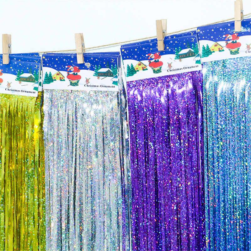 10*100 cm Tinsel Foil Fringe Porta Cortina Da Janela Decoração De Festa de Aniversário foto backdrop Casamento Decorações Suprimentos