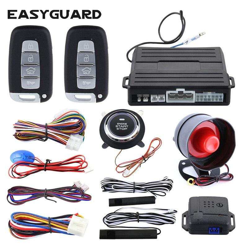 Système d'alarme de voiture EASYGUARD pour véhicule PKE avec entrée sans clé démarrage à distance du moteur avertissement de choc sans clé bouton poussoir universel