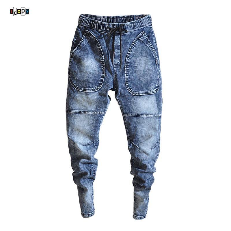 Idopy Spring New Men's Elastic Jeans Fashion Casual Hip Hop Loose Denim Jeans Black Blue Trousers Harem Pants Denim Joggers