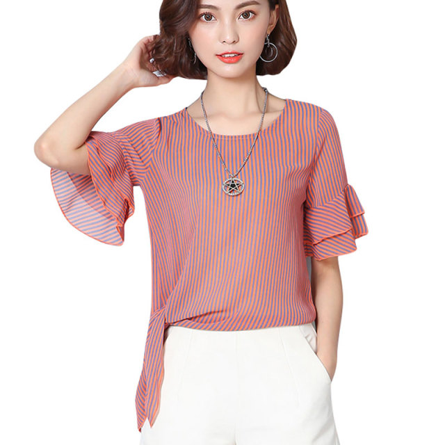13f78d7b3d3 Plus Size XXXL Korean Bows Striped Ruffles Sleeve Summer Tops Elegant  Chiffon Blosue Women Shirt Female