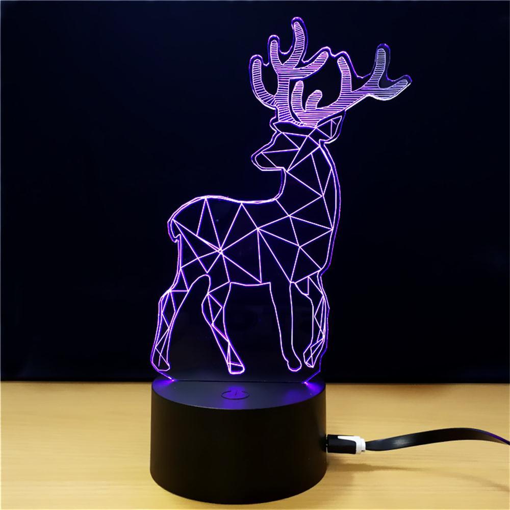 100% Kwaliteit Kerst Herten 3d Lamp 7 Kleur Moose Led Bedlampjes Voor Kinderen Touch Usb Led Tafellamp Voor De Voor Verjaardagscadeau Volume Groot