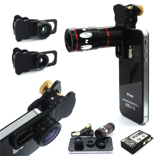 Libre 4in1 Del Envío 10X de Zoom Telescopio Lente Lentes de ojo de Pez + Amplia lente gran angular y macro para iphone 5s 6 samsung huawei xiaomi lg asus