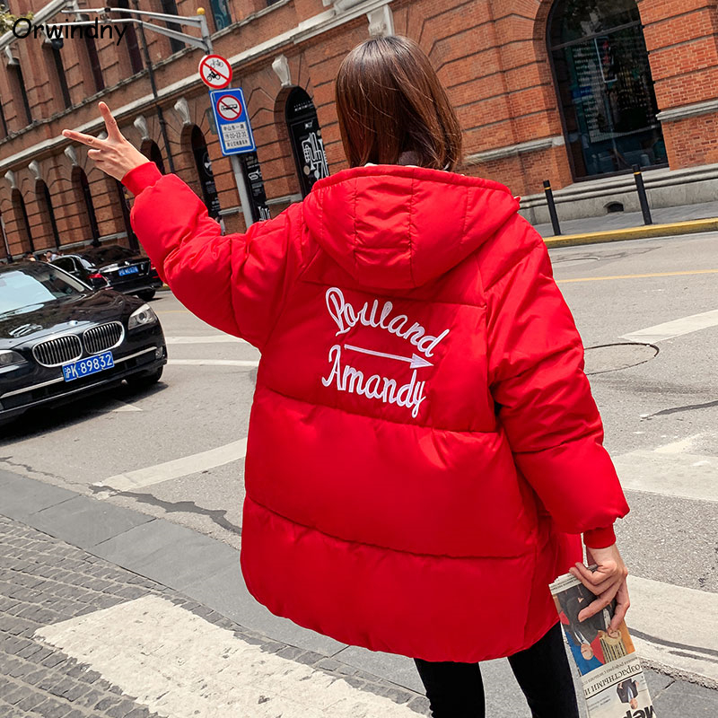 Orwindny Winter Jacket Women 2019 New Loose   Parka   Thickening Warm Clothing Outerwear Student Medium Long Female Jacket Coat