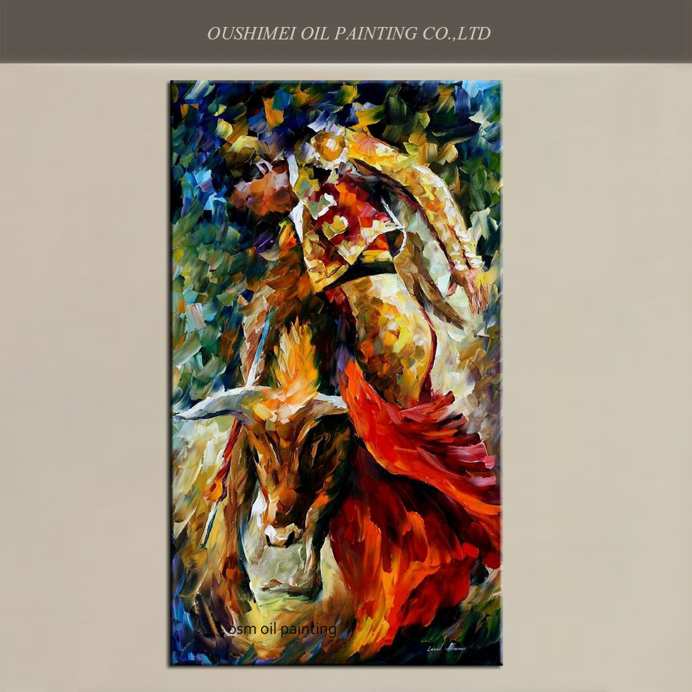 100%Hand-painted Modern Original Oil Oainting on Canvas Matador and Strong Bull Cow Fighting Colorful Knife Art Canvas Paintings