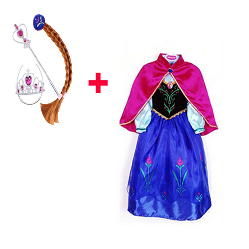 (Free Crown+Anna Dress) 2015 Girls Anna Princess Party Dresses,Kids Christmas Party Long Sleeve Dress,Baby Girls Clothing