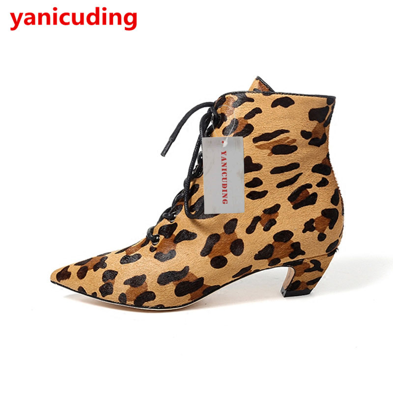 Leopard Pattern Women Winter Ankle Boots Pointed Toe Front Lace Up Women Short Booties Med Heel Shoes Luxury Brand Runway Boots yanicuding round toe women flock ankle booties metal short boots zip design luxury brand fashion runway star autumn shoes flats