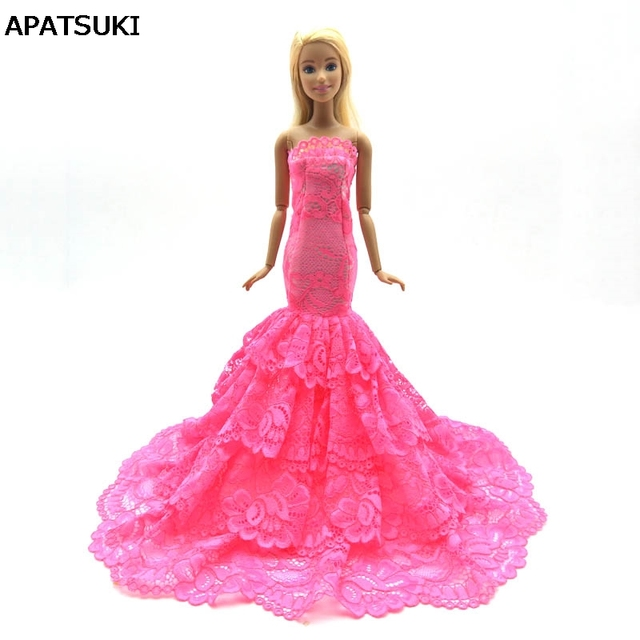 Pink Lace Doll Dress Costume Elegant Lady Fishtail Dress For Barbie Doll  Clothes For 1 6 BJD Mermaid Dresses Gift Toy 99dc52572ce6