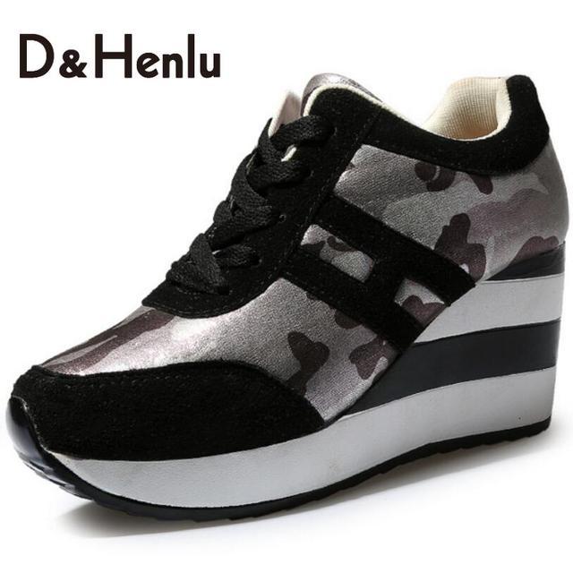 {D & H} женская Вулканизируют Обувь На Открытом Воздухе женщин Вскользь Высота Увеличение Обувь Мода Клинья Обувь Женщина Ботильоны