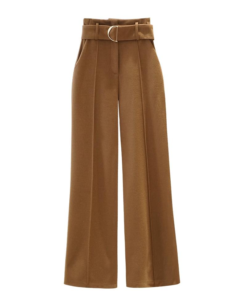 Alta Recta Invierno Otoño De Casuales Nueva Oficina Pierna 1 Lana Cintura Mujer Pantalones 3 Dama Ancha 2 g8Hq0