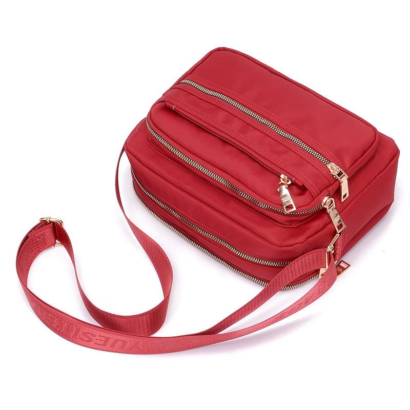 Women Fashion Solid Color Zipper Waterproof Nylon Shoulder Bag Female Crossbody Bag Ladies Bolsa Waterproof Travel Messenger Bag