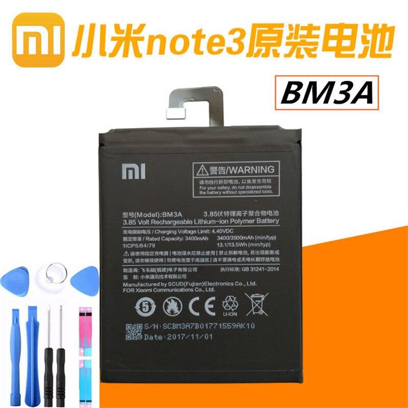 100% Original Xiao Mi Replacement Battery BM3A bn3a Xiaomi Note 3Battery 3300mAh High Capacity Phone Batteries bm 3a