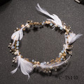 Gorgeous Feather Bridal Veil Headband Crystal Pearl Jewelry Forehead Hair Ornaments Crown Gold Plated Wedding Accessories TS140