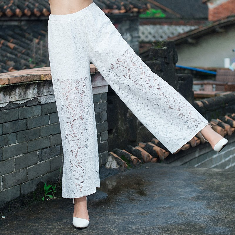 POPITEMBUY 2019 Vintage Hollow Out Wide Leg Pants Women Summer High Waist Lace Loose