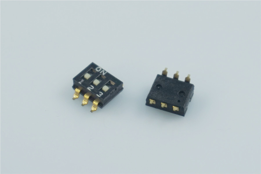 50pcs 3 Way Dip Switches SPST 3 Position 2.54mm 0.100 SMD Slide Standard Actuator Flush Recessed Gull Wing Reflow Solderable
