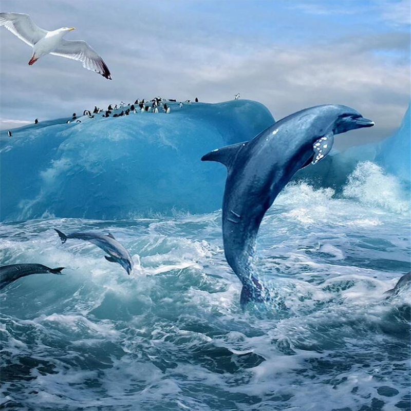Beibehang Glacier dolphin bathroom 3D floor tiles customizing large scale mural wear resistant and waterproof film