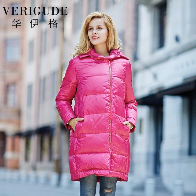 Veri gude mujer con capucha de down parka largo invierno estilo cálido abrigo asimétrico con cremallera frontal