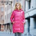 Veri gude mulheres com capuz para baixo parka inverno longo casaco estilo quente assimétrica zíper frontal