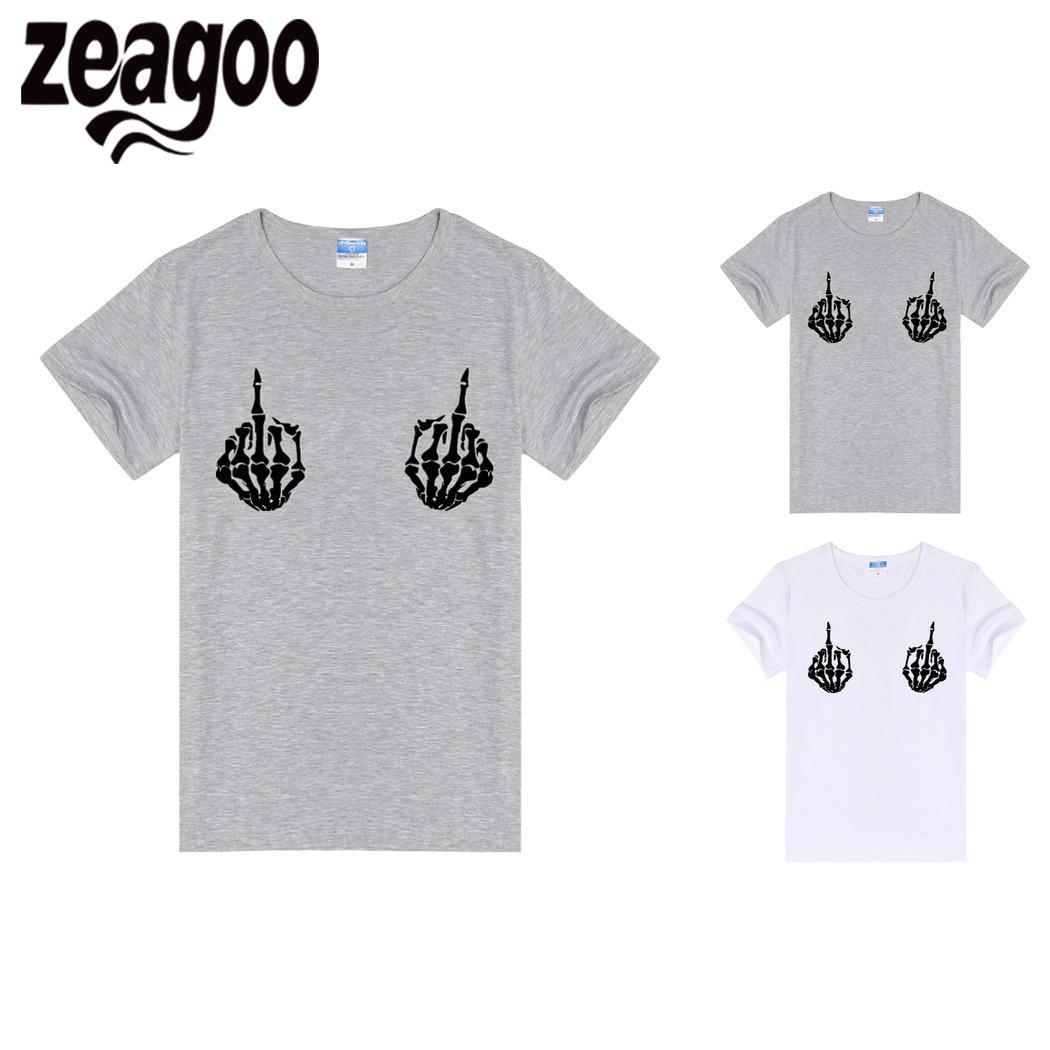 zeagoo T-Shirt Casual Solid O-Neck Short Sleeve Women skull1