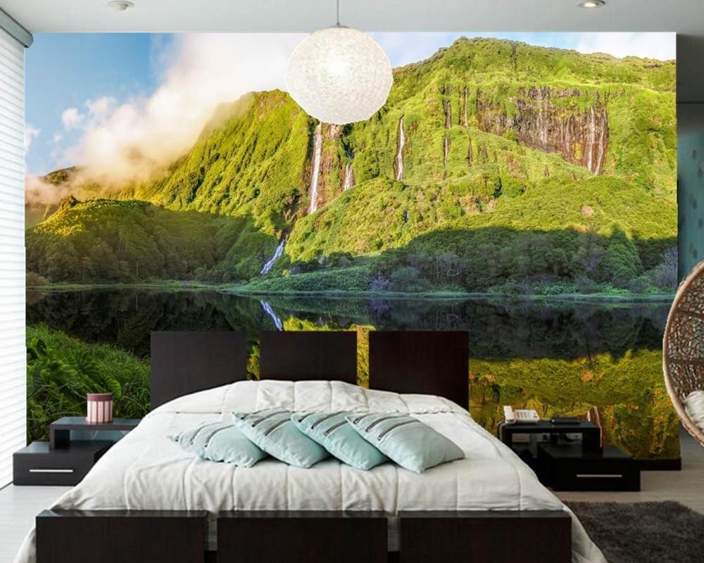 Benutzerdefinierte 3d mural, berge See Wasserfälle Natur tapeten ...