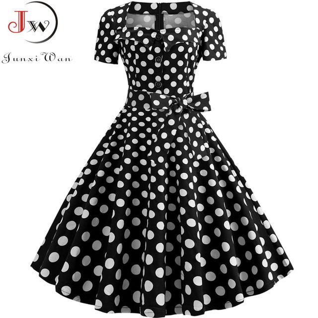 Women Summer Dress Elegant Retro Vintage 50s 60s Robe Rockabilly Swing Pinup Dresses Casual Plus Size Red Party Vestidos 6