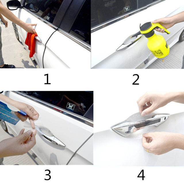 2018 NEW Car door handle stickers protector film for Skoda Octavia A2 A5 A7 Fabia Rapid Superb Yeti Roomster