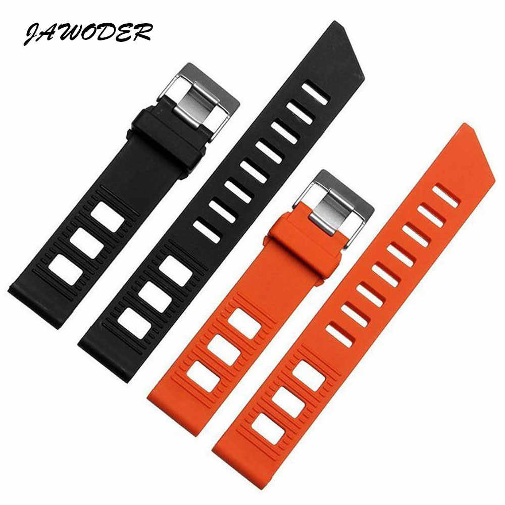 e63a2749e31 JAWODER Watchband 20mm Flat interface Orange Black Diving Silicone Rubber  Watch Band Strap stainless steel