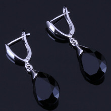 Eye-catching Water Drop Black Cubic Zirconia 925 Sterling Silver Dangle Earrings For Women V0347