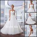 Lillian W. Classic 2017 Princess Sweetheart Beaded Long Train Organza Wedding Dresses Bridal Gown Free Shipping