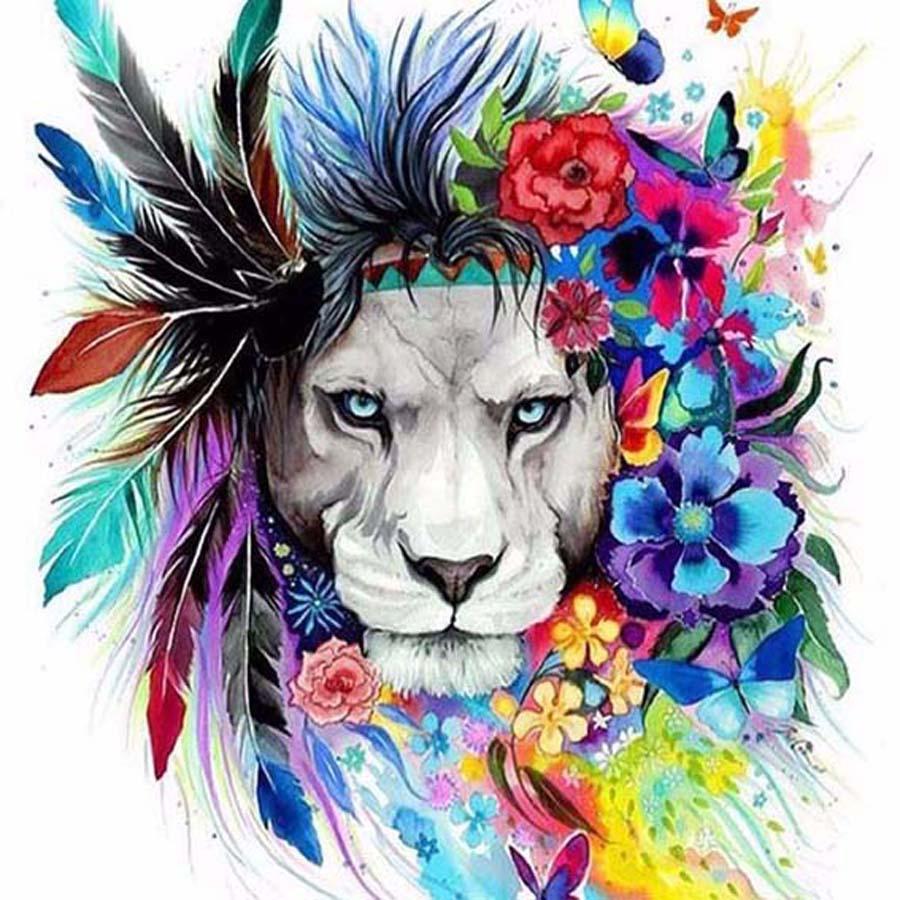 5d diy diamond mosaic embroidery colored lion diamond painting full square rhinestone cross stitch home decor