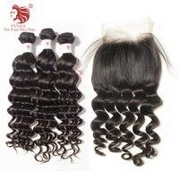 [FYNHA] Cambodian Virgin Hair Loose Deep Wave Weave 3 Bundles With Lace Closure Human Hair Extensions Closure