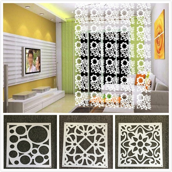 8pc white hanging screen partition home office store divider wall sticker decor in wall stickers - Garden decor stores ...