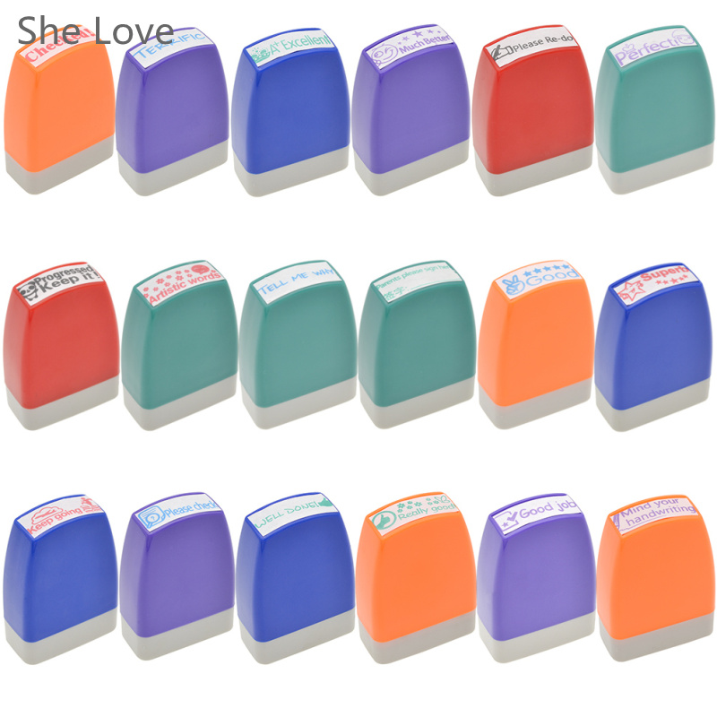 She Love Teacher Stamp Self inking Rubber Stamp School Homework Reward Education Praise Scrapbooking Cartoon Kids Stamp
